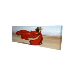 Canvas 16 x 48 - 3D - Woman with a long red dress in the desert