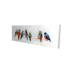Canvas 20 x 60 - 3D - Colorful birds on a wire