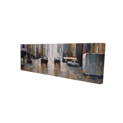 Canvas 16 x 48 - 3D - Cars in the morning rain