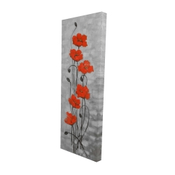 Canvas 20 x 60 - 3D - Big red flowers