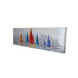 Canvas 16 x 48 - 3D - Colorful boats near a gray city