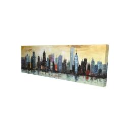 Canvas 16 x 48 - 3D - Skyline on abstract cityscape
