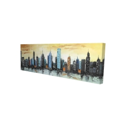 Canvas 16 x 48 - 3D - Skyline on cityscape