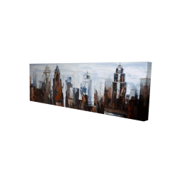 Canvas 16 x 48 - 3D - Gray day in the city