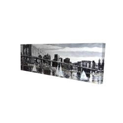 Canvas 16 x 48 - 3D - Brooklyn bridge with sailboats