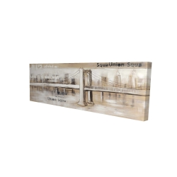 Canvas 16 x 48 - 3D - Abstract bridge with typography