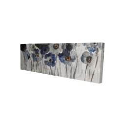Canvas 16 x 48 - 3D - Blue blurry flowers
