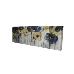 Canvas 16 x 48 - 3D - Gray blue and yellow flowers