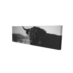 Canvas 16 x 48 - 3D - Beautiful monochrome highland cow