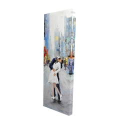 Canvas 16 x 48 - 3D - Couple kissing on the street