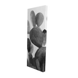 Canvas 16 x 48 - 3D - Grayscale paddle cactus plant