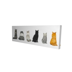 Canvas 20 x 60 - 3D - Six cats lined up back view
