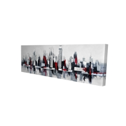 Canvas 16 x 48 - 3D - Gray and red floating cityscape