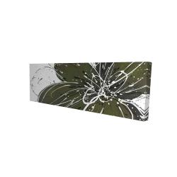 Canvas 16 x 48 - 3D - Green flower with splash outline