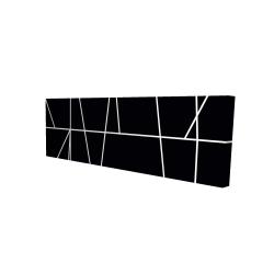 Canvas 16 x 48 - 3D - White stripes on black background