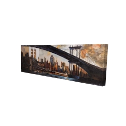 Canvas 16 x 48 - 3D - Bridge in the city at sunset