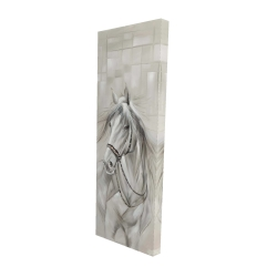 Canvas 16 x 48 - 3D - Worthy white horse