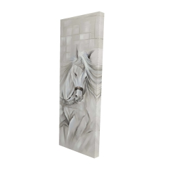Canvas 16 x 48 - 3D - White horse with his mane in the wind