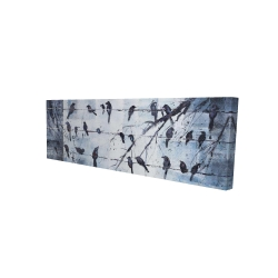 Canvas 16 x 48 - 3D - Abstract birds on electric wire