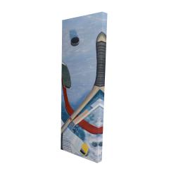 Canvas 16 x 48 - 3D - Hockey sticks on ice