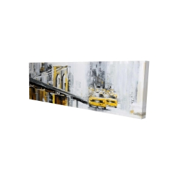 Canvas 16 x 48 - 3D - Yellow brooklyn bridge with taxis