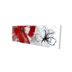 Canvas 16 x 48 - 3D - Red & gray flowers