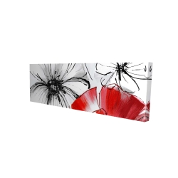 Canvas 16 x 48 - 3D - Red & white flowers sketch