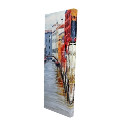 Canvas 16 x 48 - 3D - Colorful and texturized city on the water