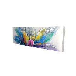 Canvas 20 x 60 - 3D - Abstract flower with newspaper