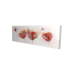 Canvas 16 x 48 - 3D - Crimson flowers and butterfly