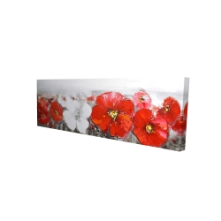 Canvas 16 x 48 - 3D - Gray field with red flowers