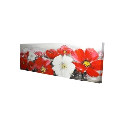 Canvas 16 x 48 - 3D - Red and white flowers field