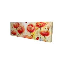Canvas 16 x 48 - 3D - Red flowers garden