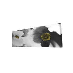 Canvas 16 x 48 - 3D - Black and white flowers