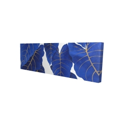 Canvas 16 x 48 - 3D - Tropical abstract blue leaves