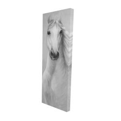 Canvas 16 x 48 - 3D - Monochrome mighty white horse