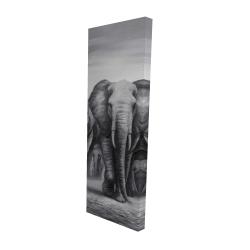 Toile 16 x 48 - 3D - Troupeau d'éléphants