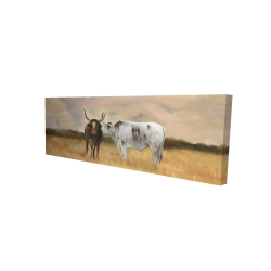 Canvas 16 x 48 - 3D - Two cows kissing by sunset