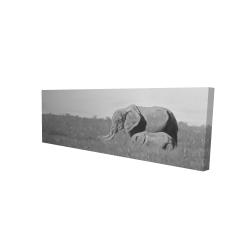 Canvas 16 x 48 - 3D - Elephants in the savannah