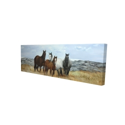 Canvas 16 x 48 - 3D - Horses in the meadow by the sun