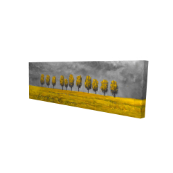 Canvas 16 x 48 - 3D - Yellow trees in a field