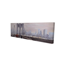 Canvas 16 x 48 - 3D - Brooklyn bridge with passersby