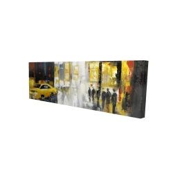 Canvas 16 x 48 - 3D - Rainy busy street