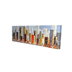 Canvas 16 x 48 - 3D - Colorful buildings with water reflection