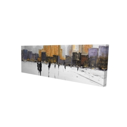 Canvas 16 x 48 - 3D - Silhouettes walking towards the city
