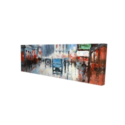 Canvas 16 x 48 - 3D - Abstract red and blue city