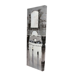 Canvas 16 x 48 - 3D - Gray building with passersby