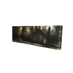 Canvas 16 x 48 - 3D - Cabin in the forest
