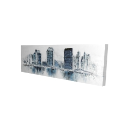 Canvas 16 x 48 - 3D - Texturized blue colors cityscape