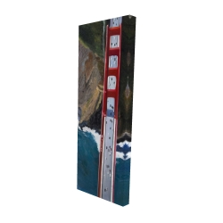 Canvas 16 x 48 - 3D - Overhead view of the golden gate and mountains